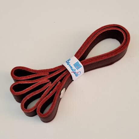 Patentos bőr kézi táskafogó párban - Bordó - 30 cm