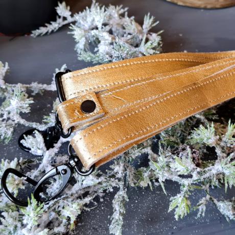 Állítható bőr táskapánt - Ünnepi arany