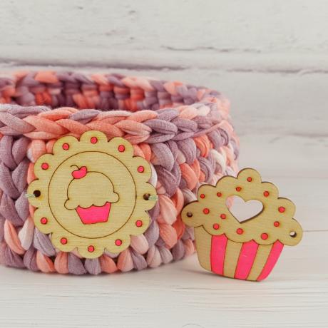 2 db-os felvarrható muffinok - Wood Stitch Collection