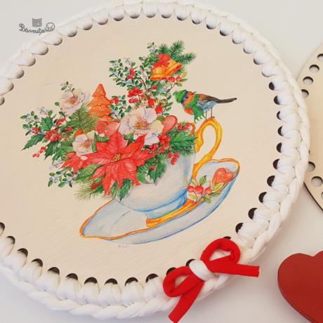 Ünnepi teázás - 20 cm-es horgolható fa alap - Wood Stitch Collection